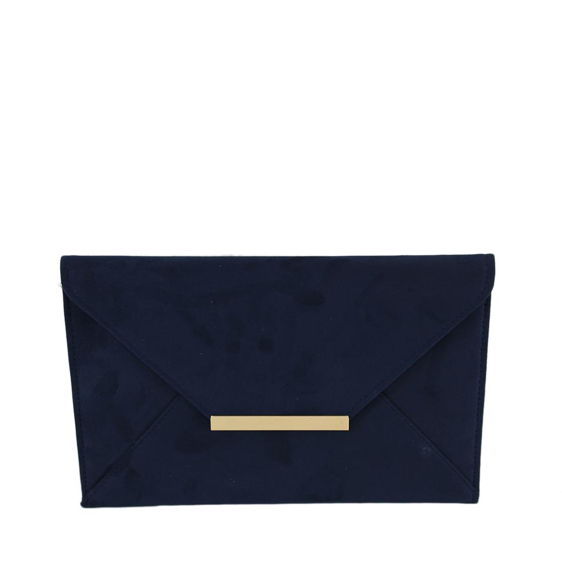 Plain envelope style suede clutch bag