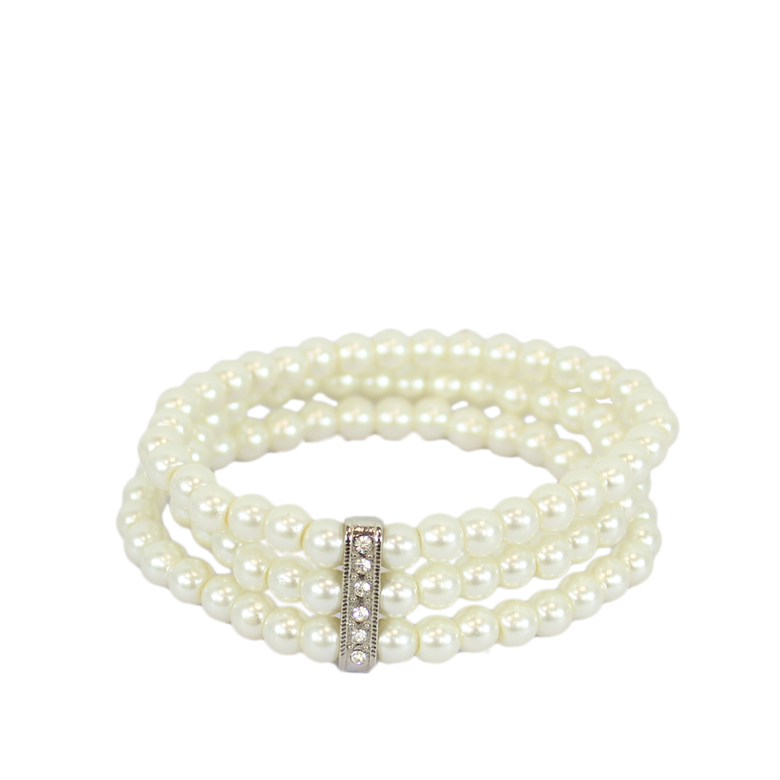 Three layers of pearls with small diamonds
