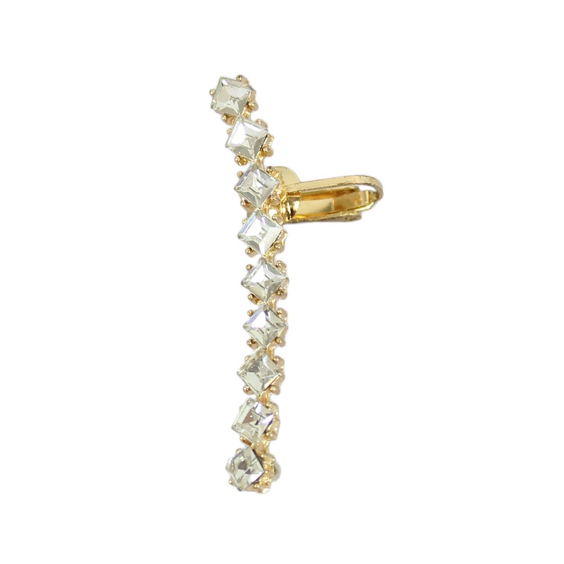One long diamond earring.