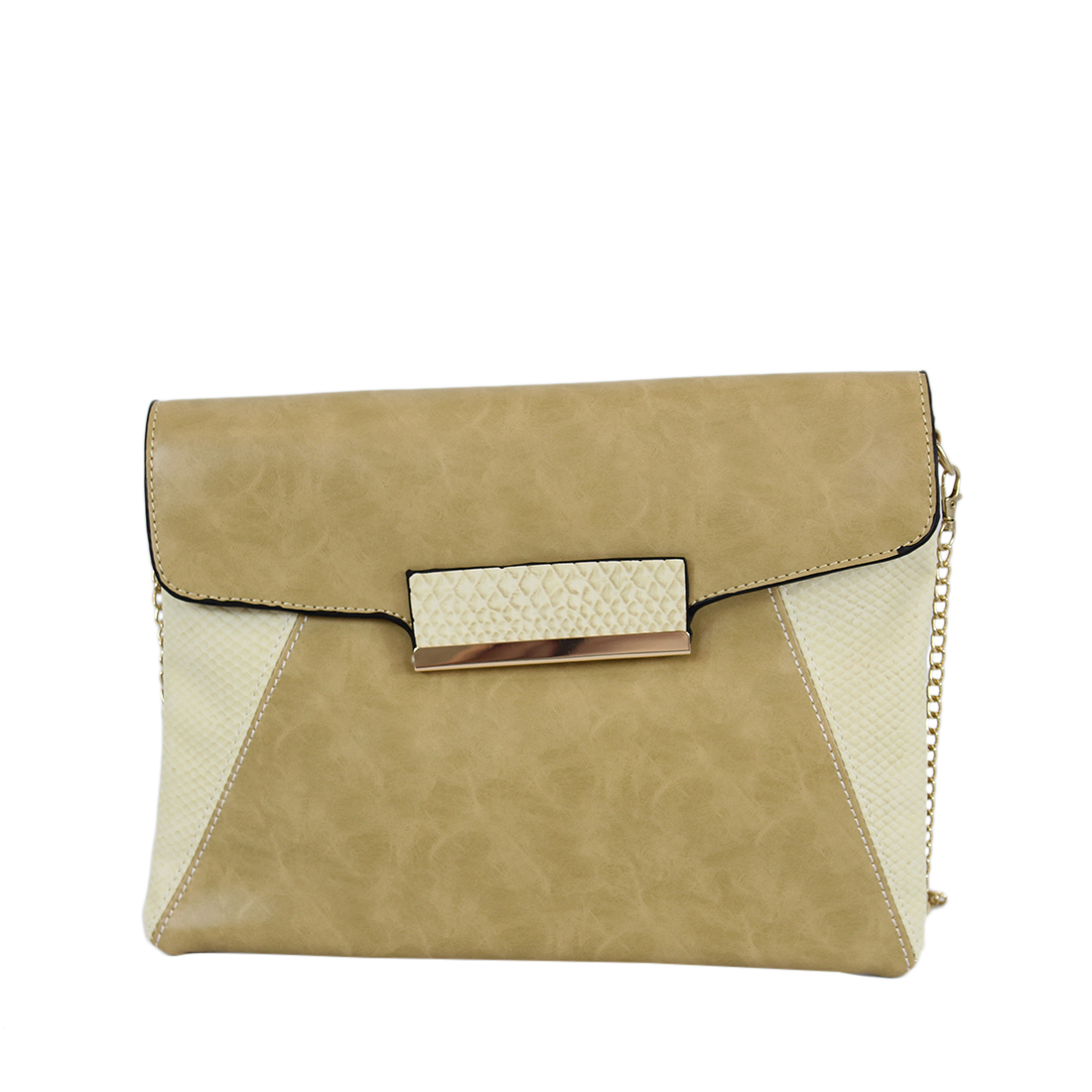 Leather clutch with sneak print decorations on sides