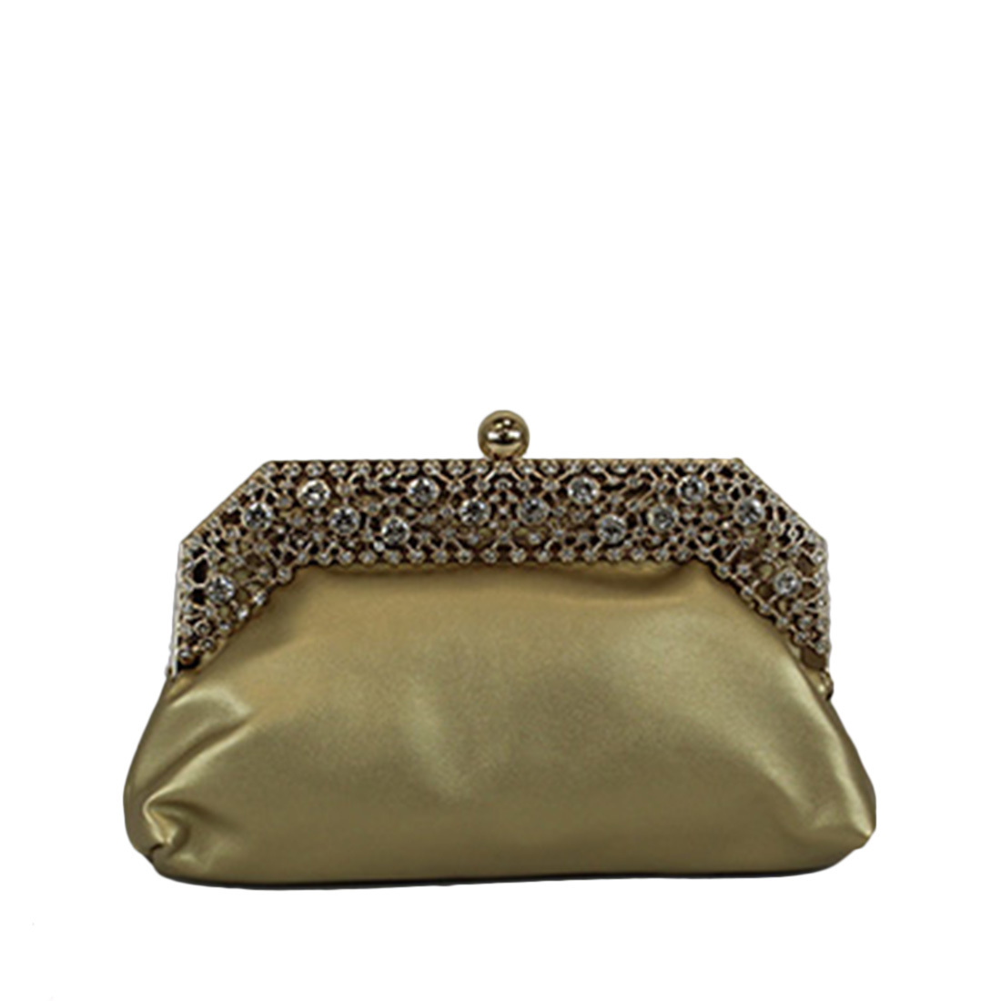 Clutch purse with decorative stones on top