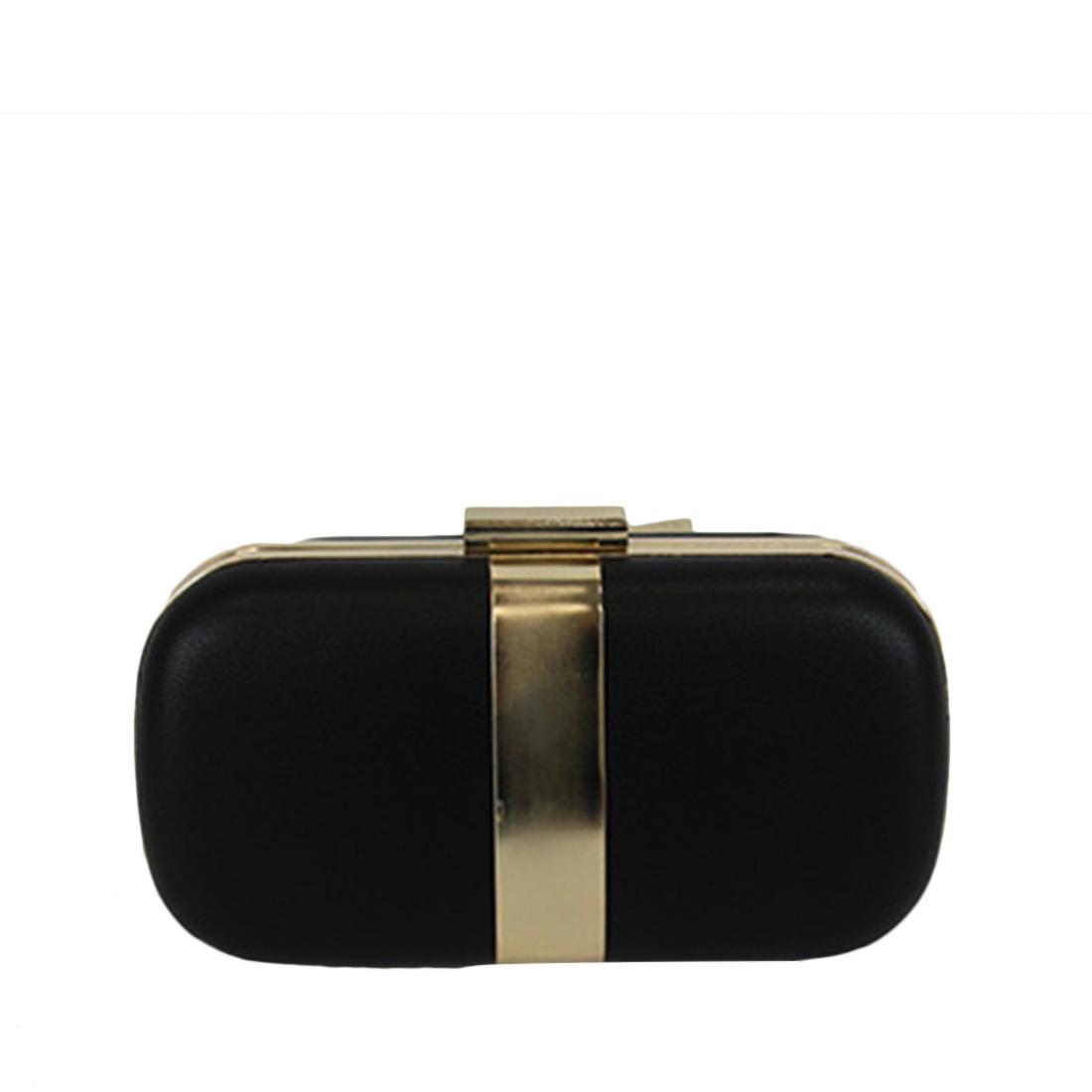 Hard case clutch bag with gold trim