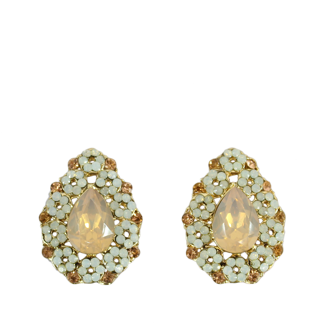 Drop shape with big and tiny diamonds