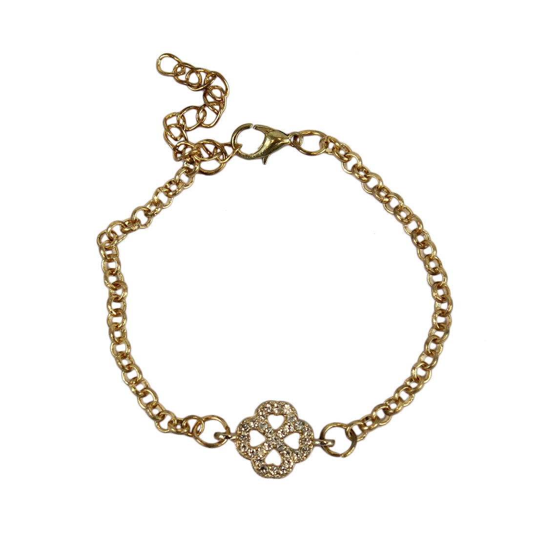 * Charm bracelet with clover and diamonds