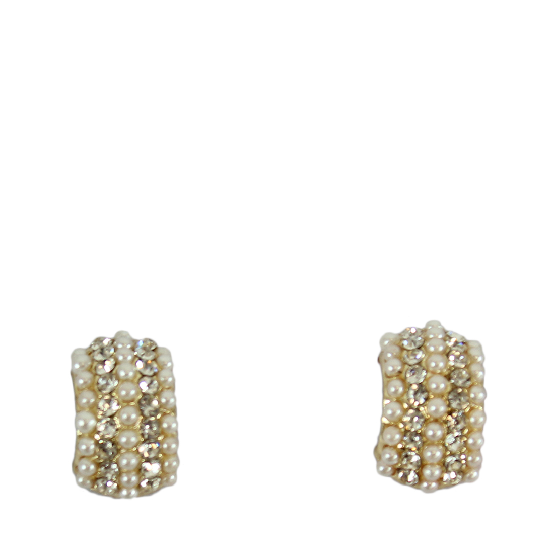* Bended square style earrings with pearls and tiny diamonds