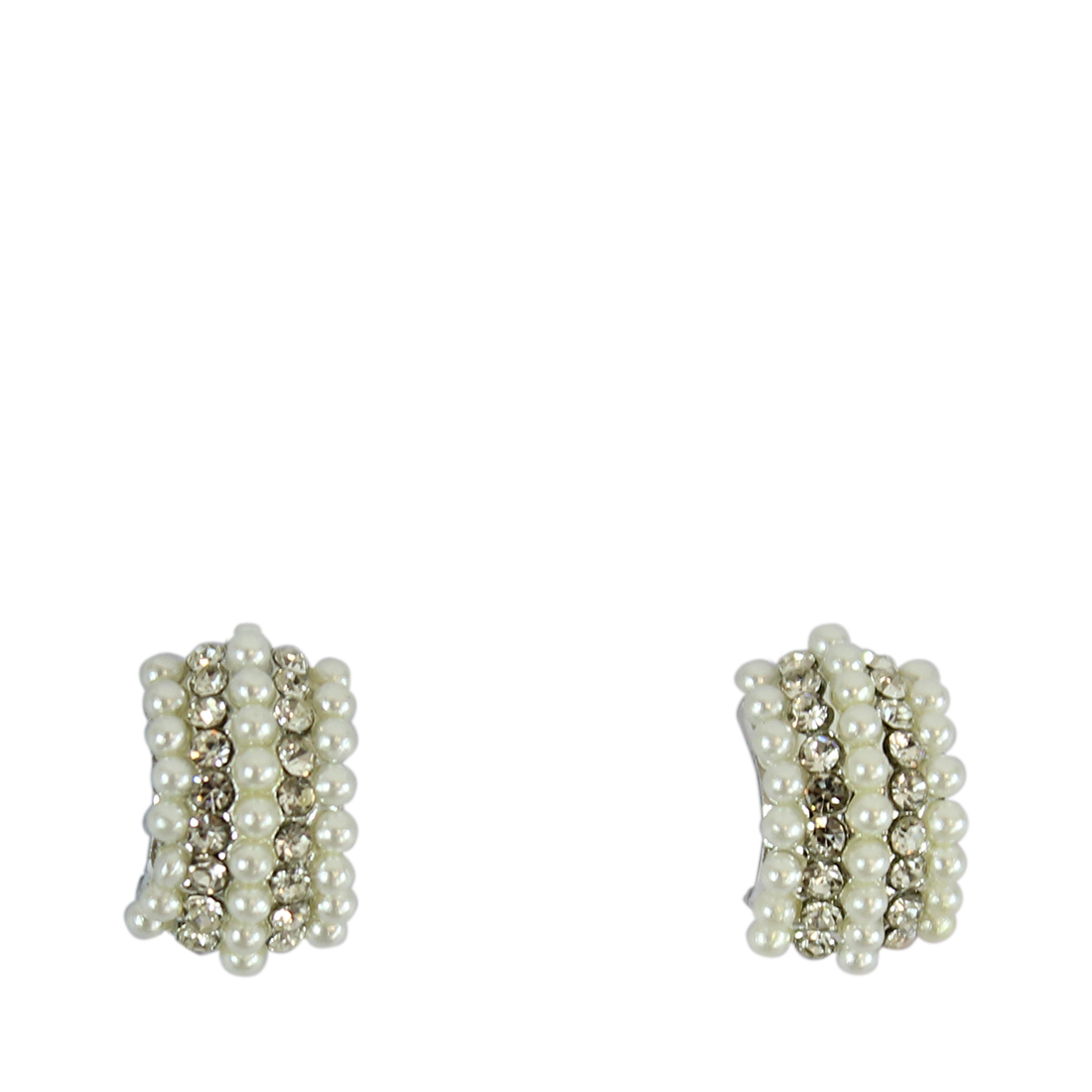 Bended square style earrings with pearls and tiny diamonds