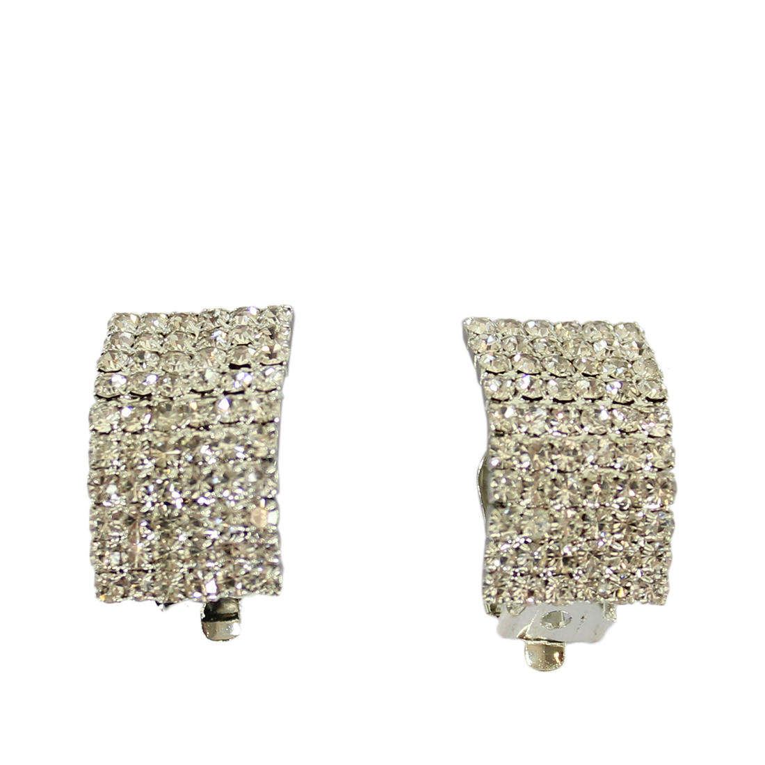 Bended diamond square style earrings