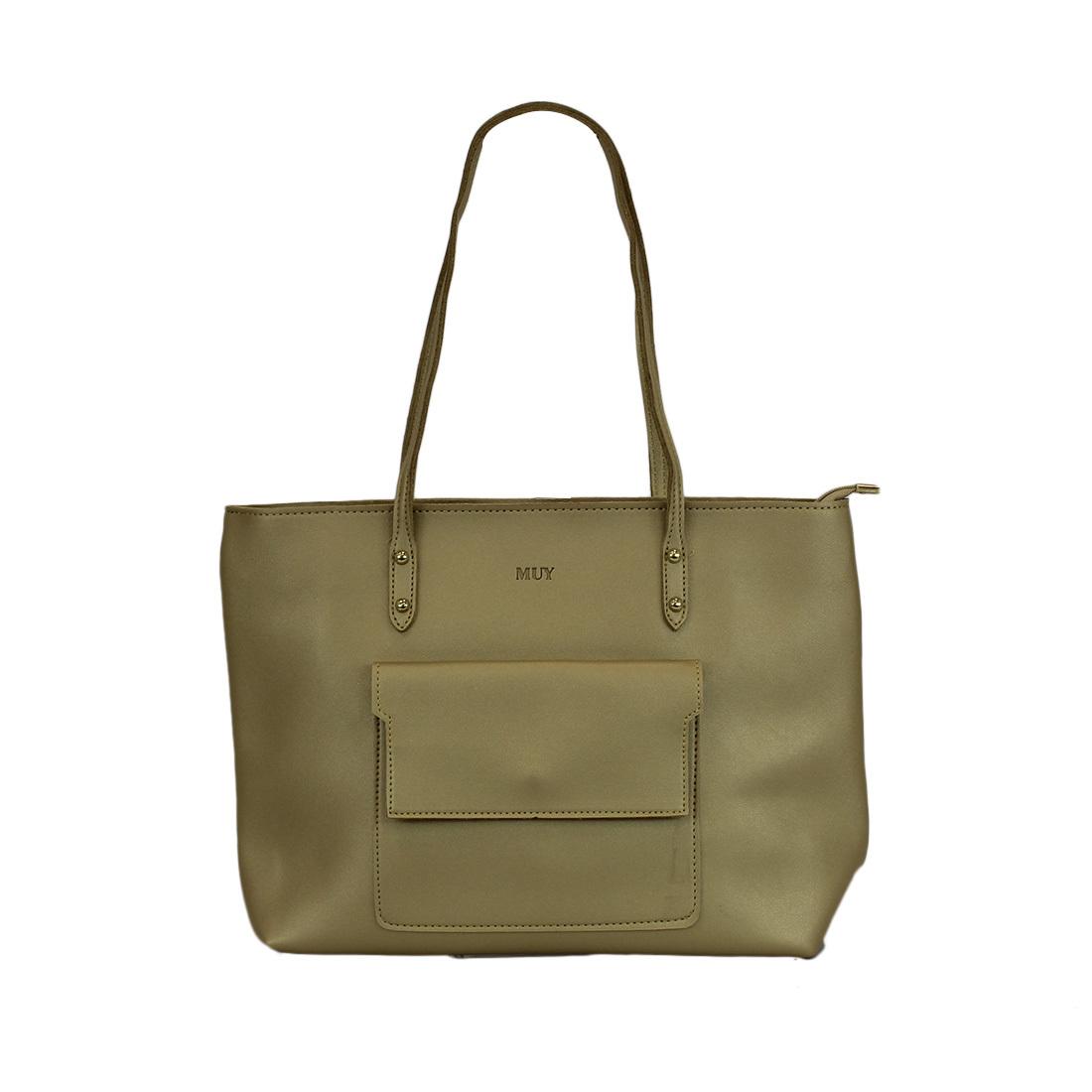 Leather plain large handle handbag with pocket on front