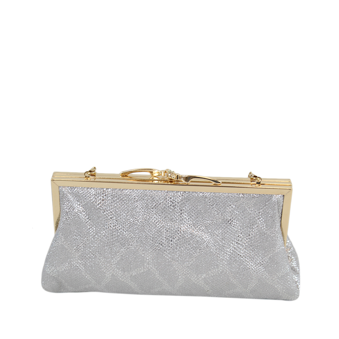 Shiny soft clutch purse with gold and diamond opener