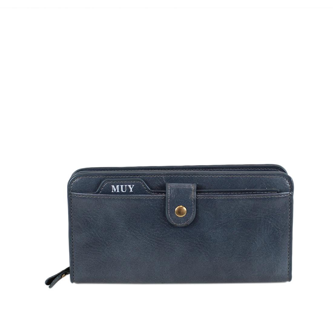 Large capacity shiny leather purse