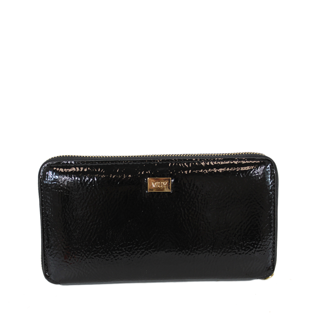 Large shiny zip wallet