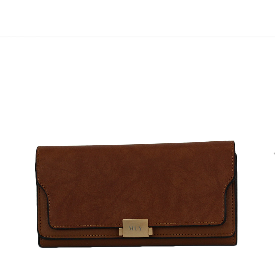 Leather double folded purse with muy trim