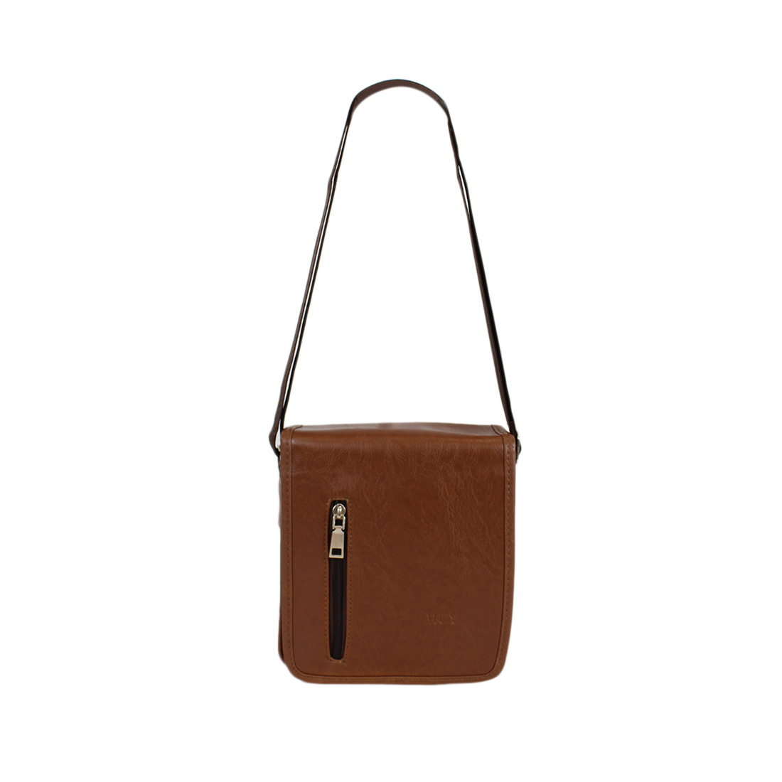 Plain real leather cross bag with zip on front