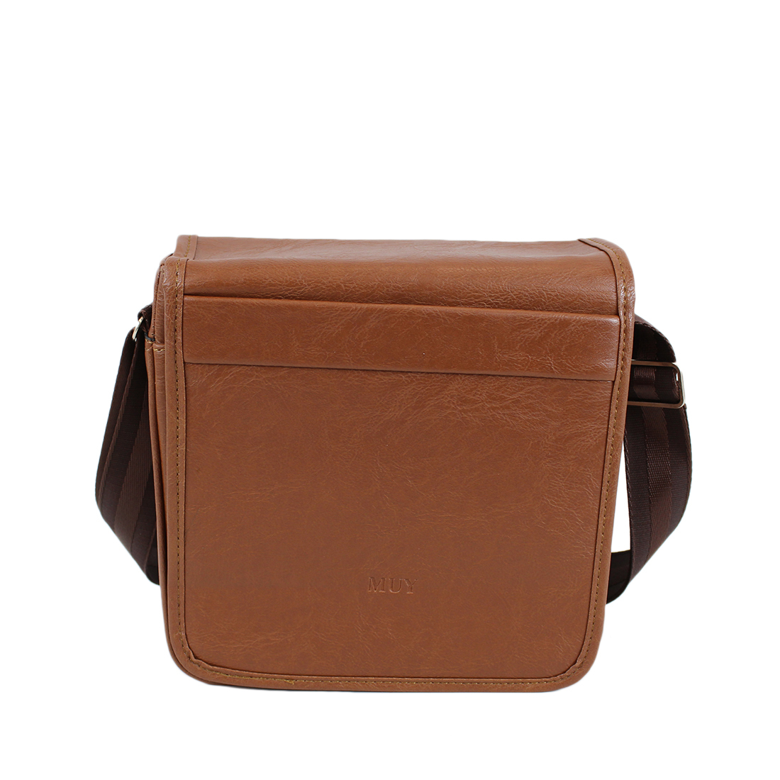 Plain real leather cross bag with pocket on front
