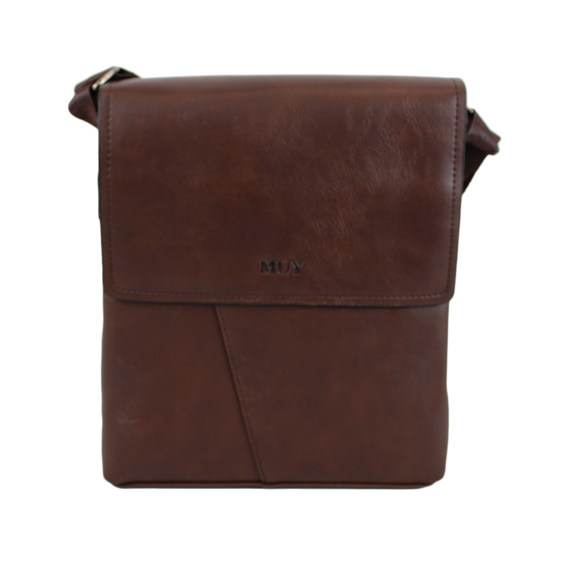 Plain real leather cross body bag