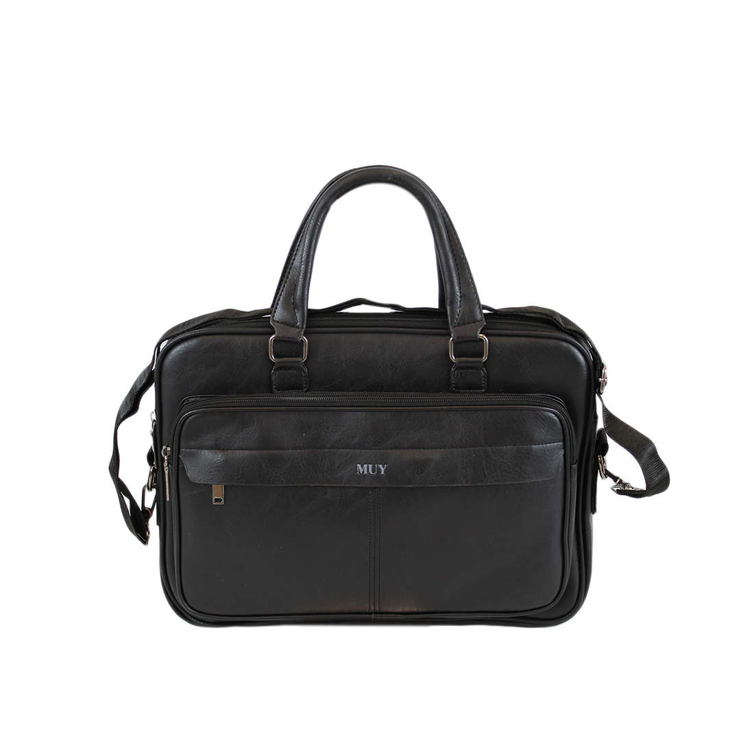 Real leather zipped briefcase
