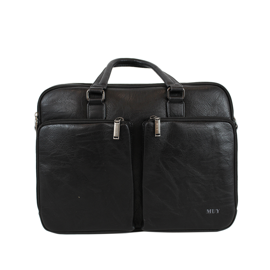 Real leather briefcase with two pockets on front
