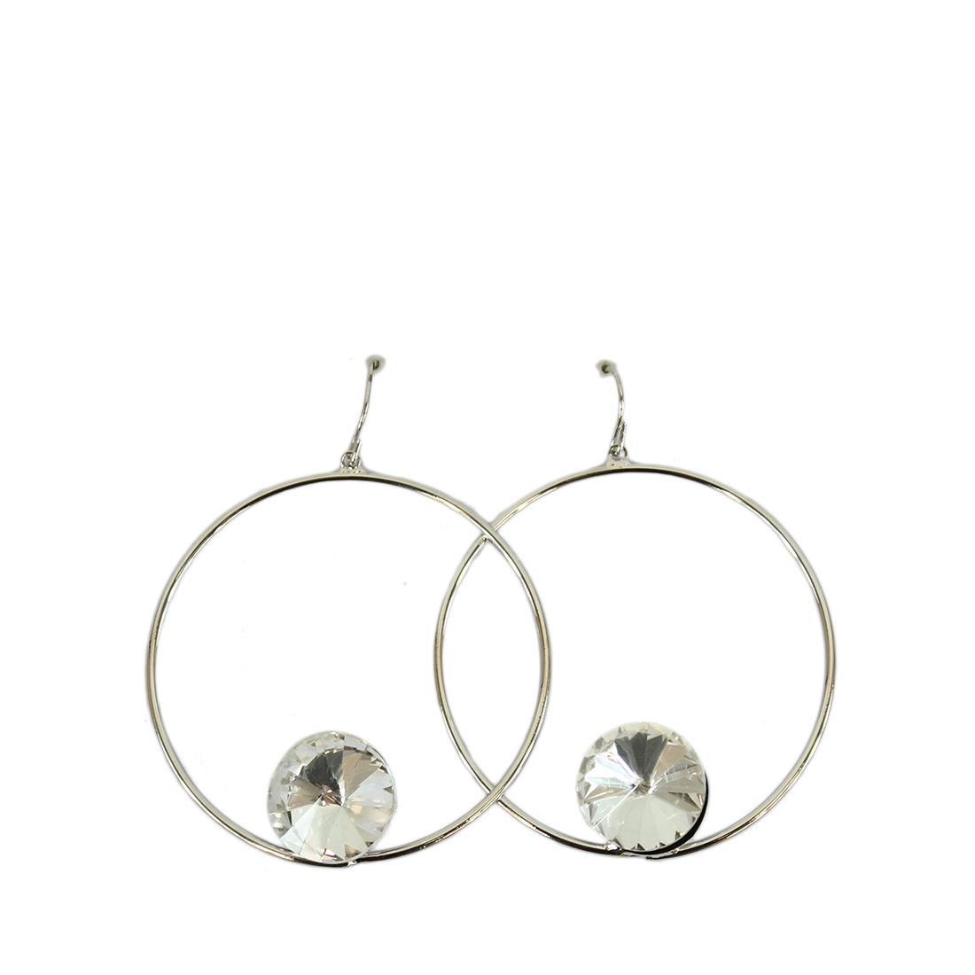 Medium hoops with big diamond