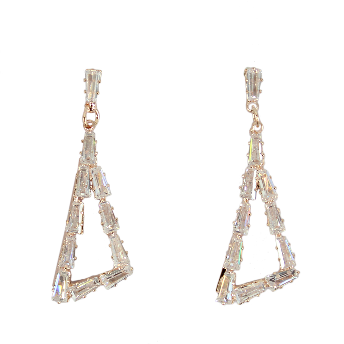 Triangle hanging earrings with diamonds