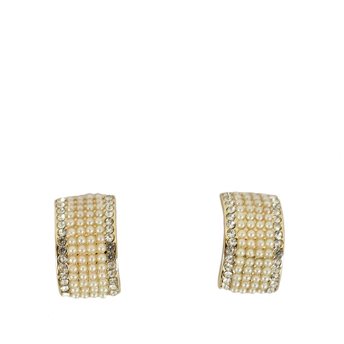 Small half hoop earrings with pearls