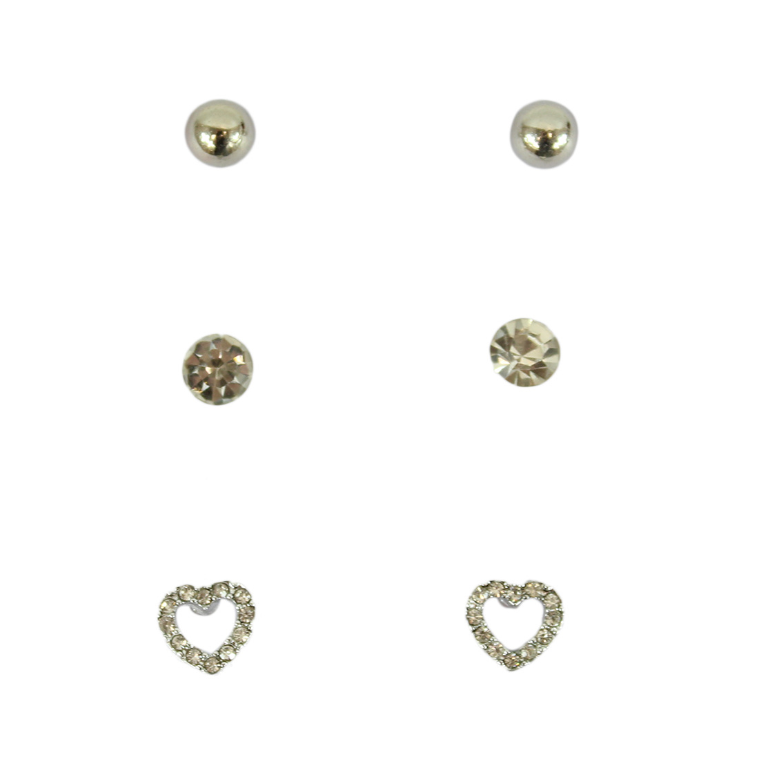 Set of three earrings with pearl, diamond and heart