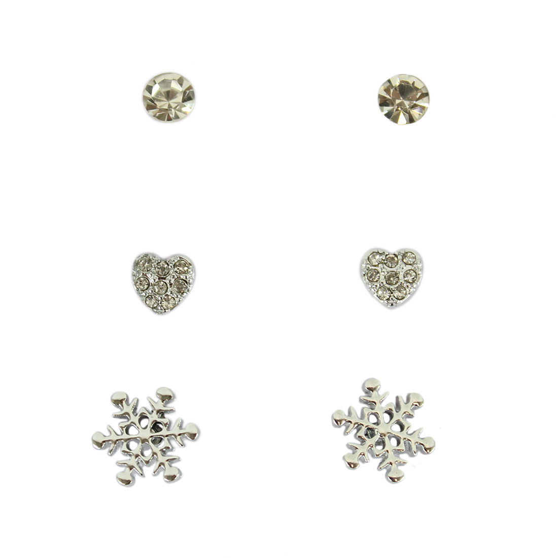 Set of three earrings with diamond, heart and snowflake