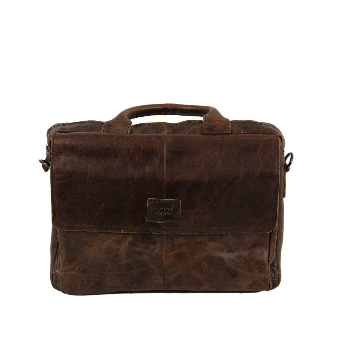 Old school real leather folded briefcase