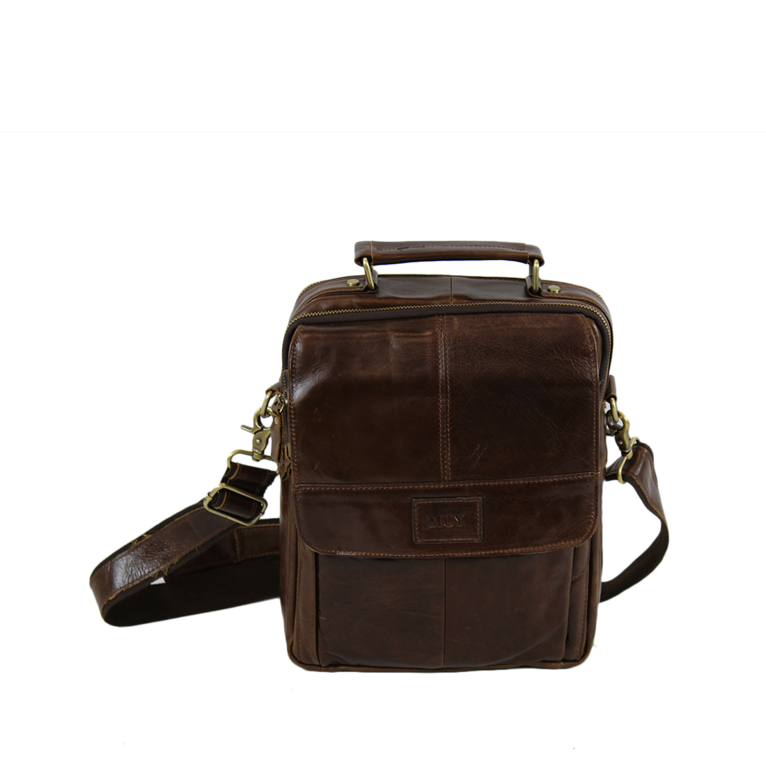 Old school real leather briefcase with pockets on front