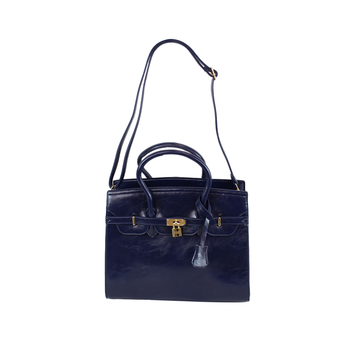 Leather Glossy Shoulder Bag With Padlock