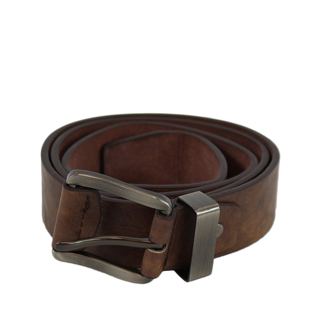 Plain wide leather belt with silver leathered buckle