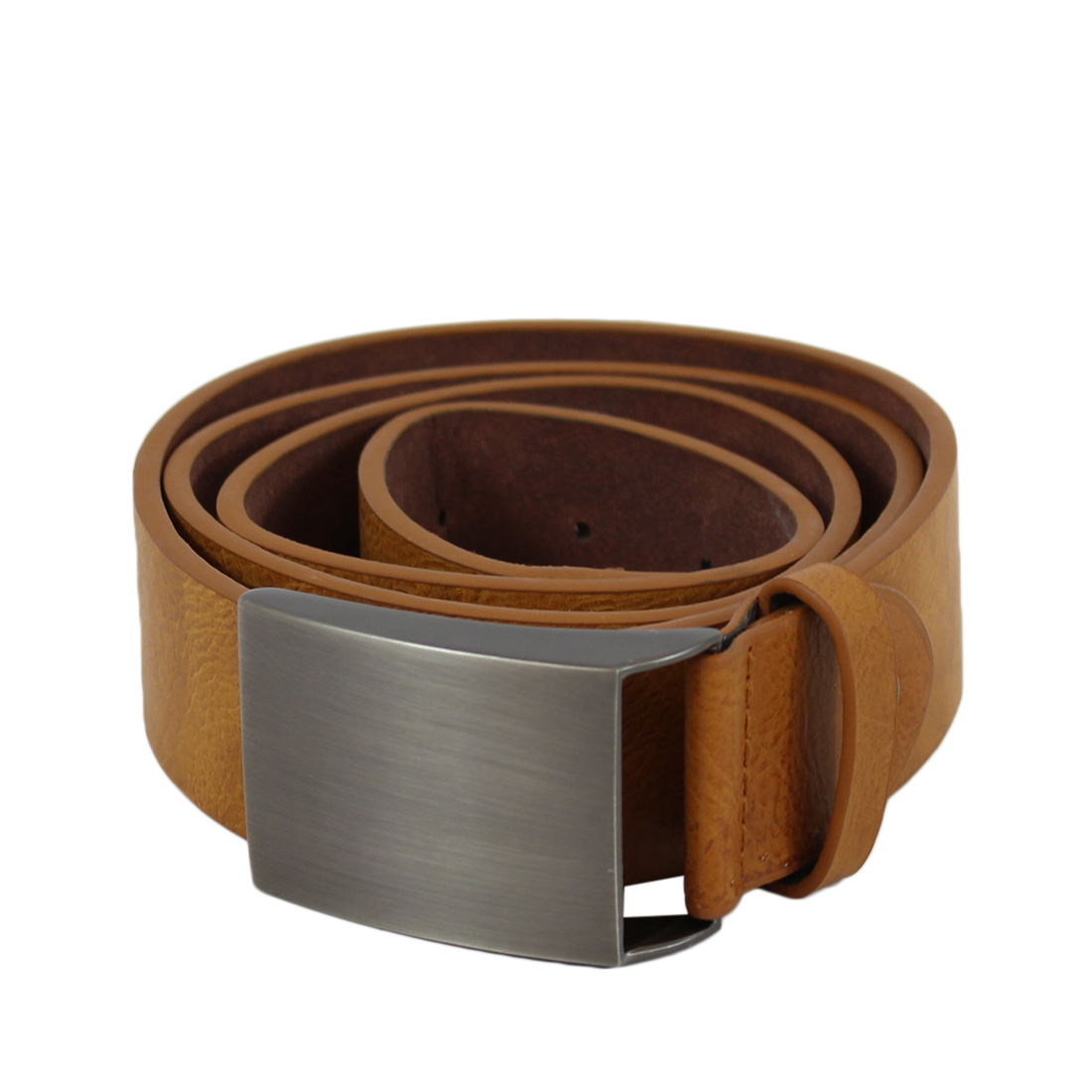 Plain wide leather belt with metal buckle