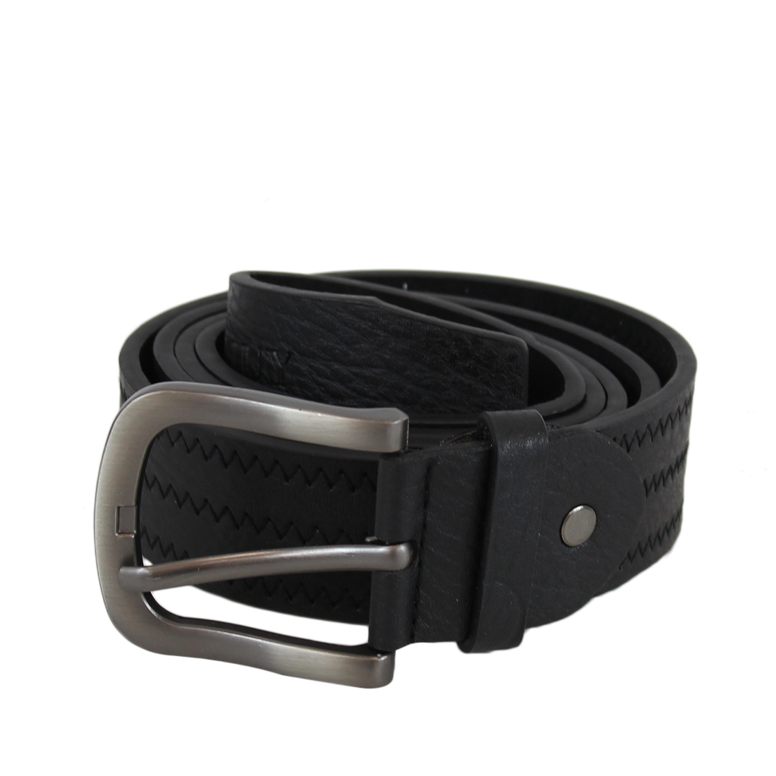 Plain wide with stitches leather belt with silver buckle