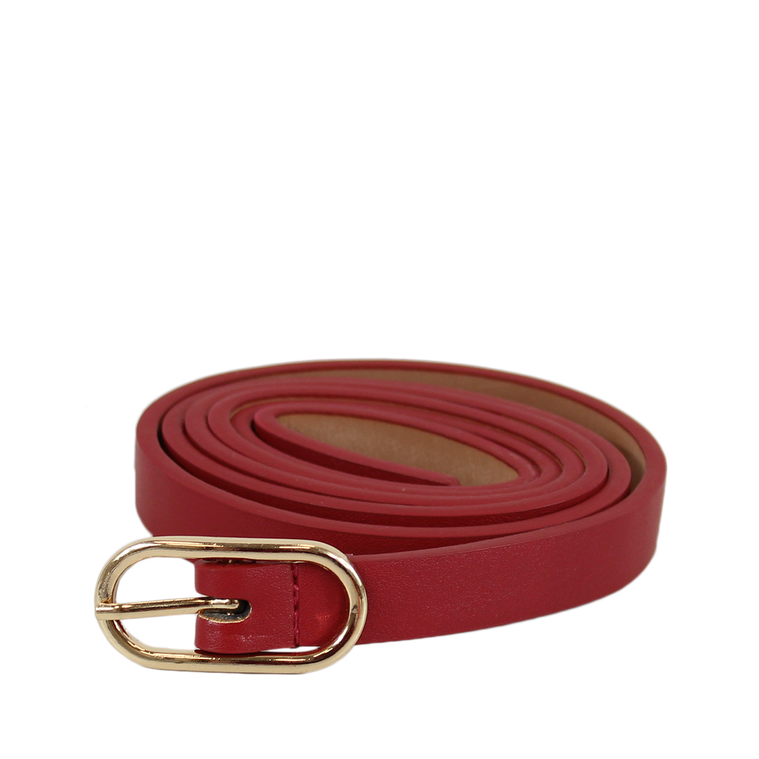 Plain super slim belt with oval gold buckle