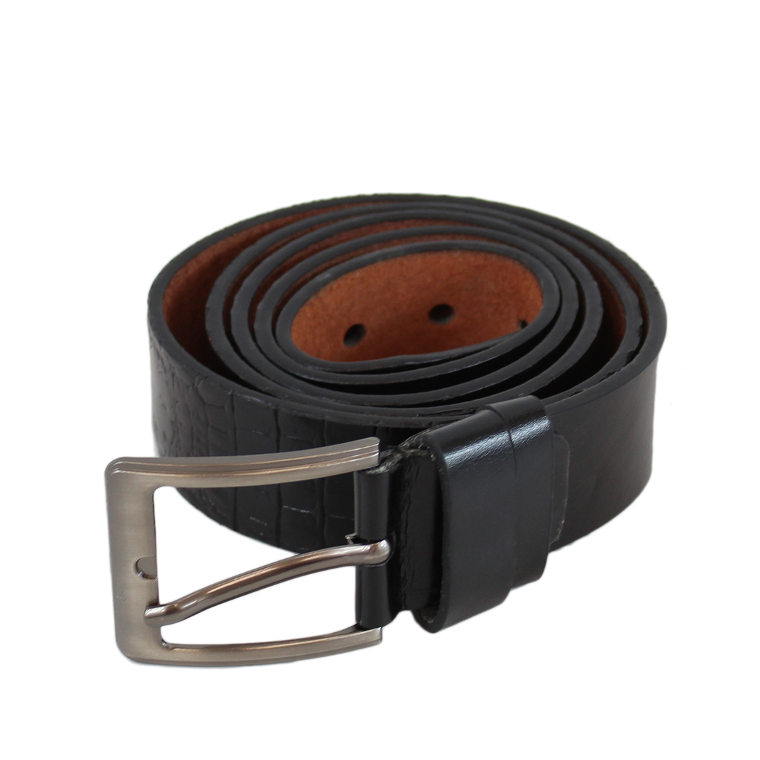 Plain shiny wide leather belt with silver buckle