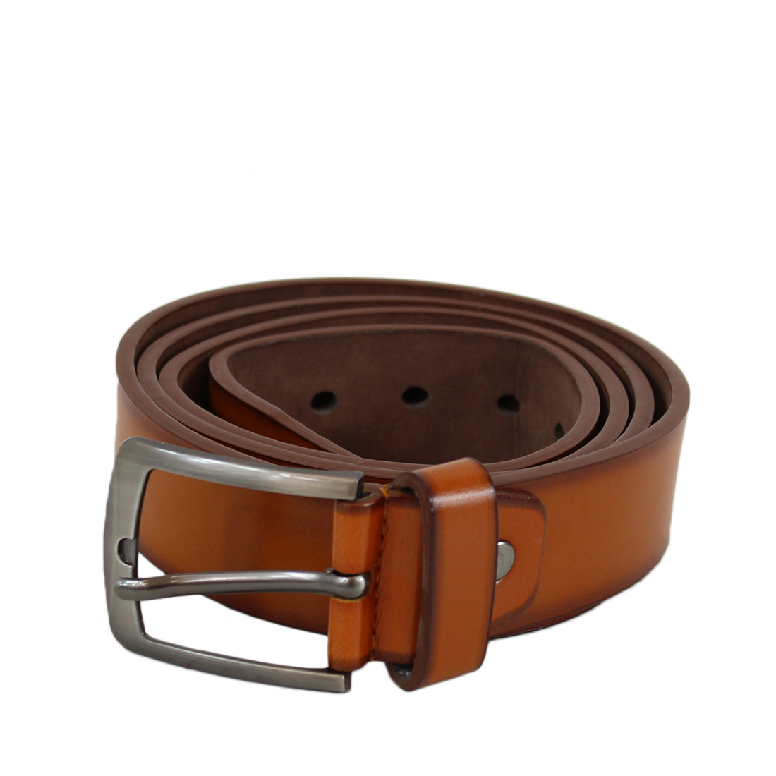 Plain wide leather belt with silver buckle