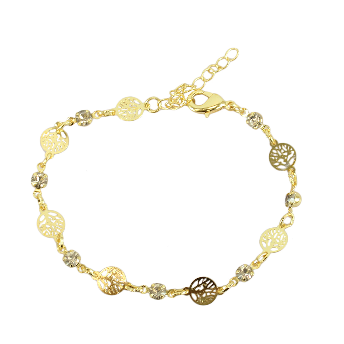 Chain bracelet with tree shapes and diamonds