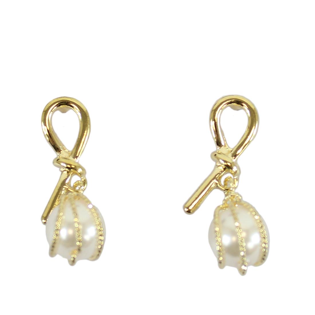 Elegant gold earrings with pearl