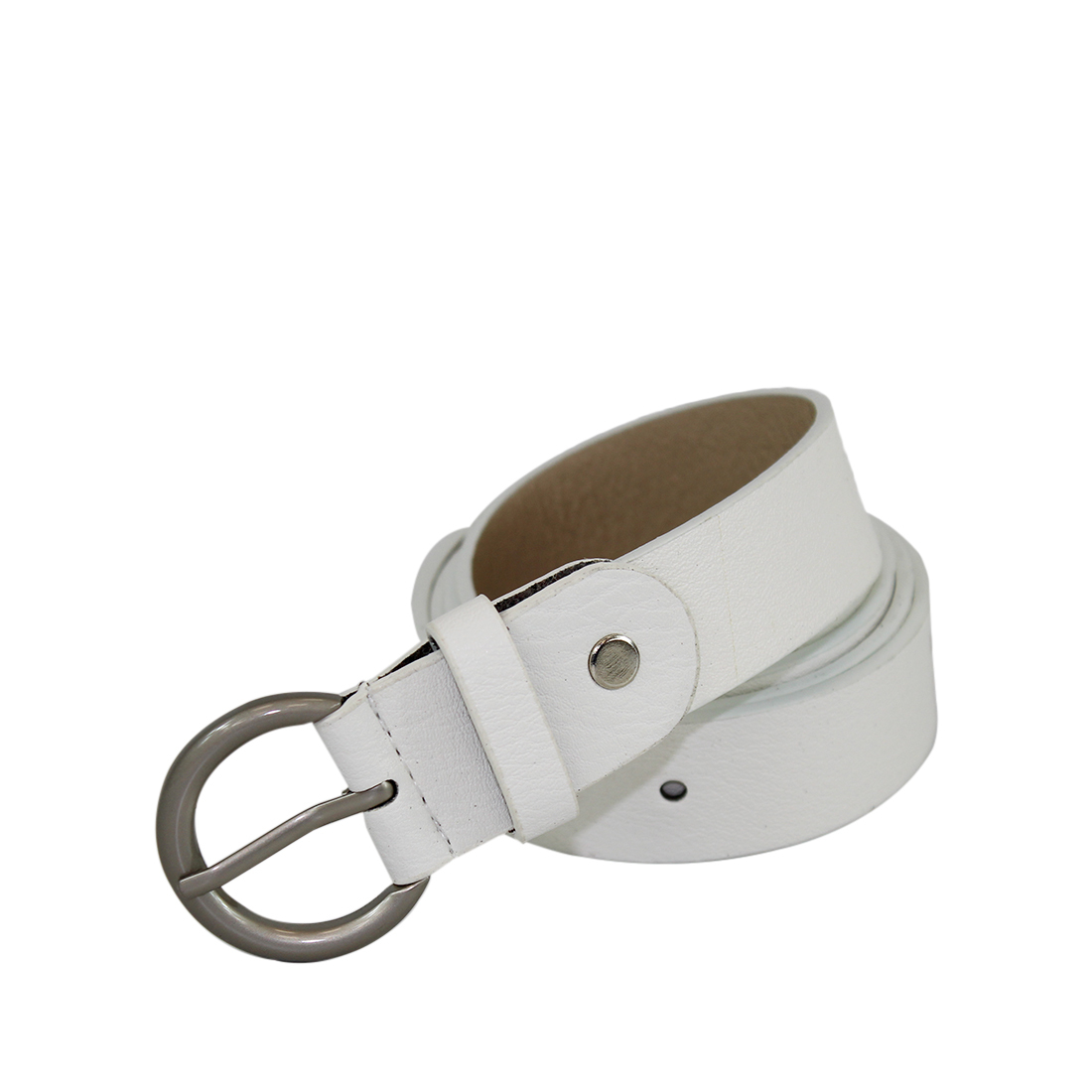 Plain with a round silver buckle