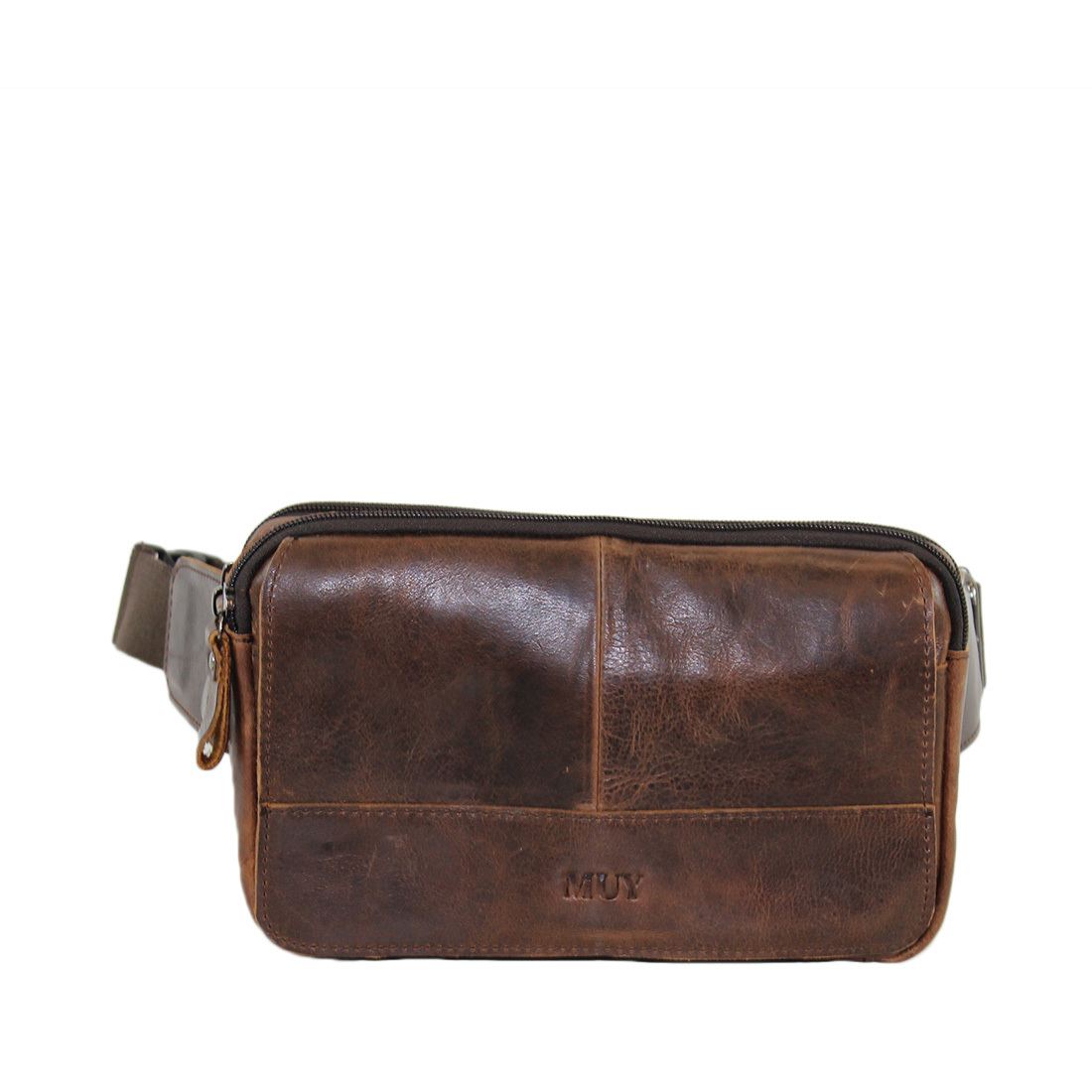 Real Leather, Two zip on top with flap infront