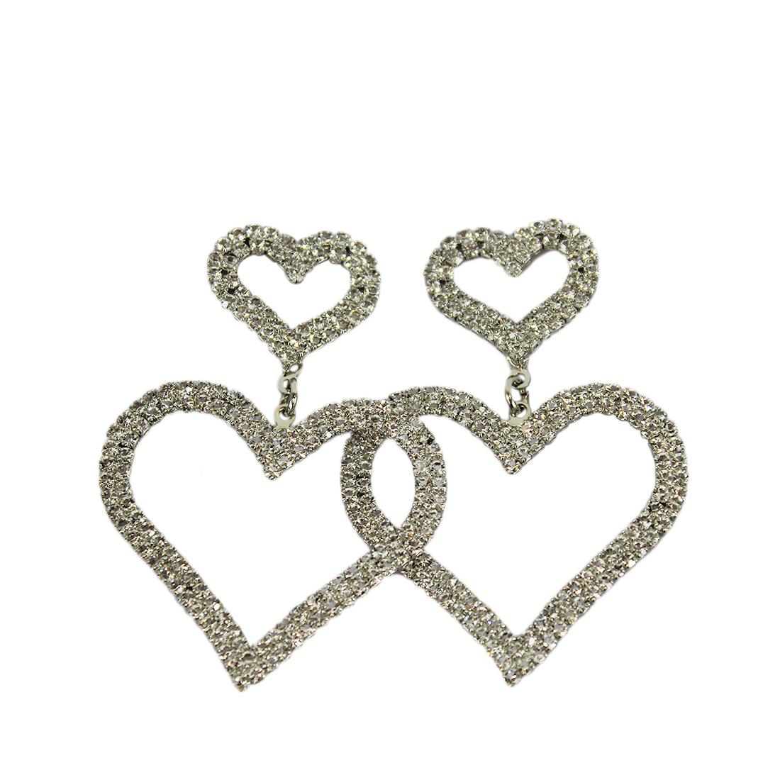 Double Heart With Diamonds Design